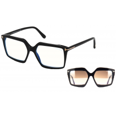 Tom Ford Blue Block 5689B 001 - Oculos e Clip On