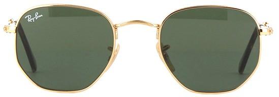 Ray Ban Hexagonal Verde com Dourado Original