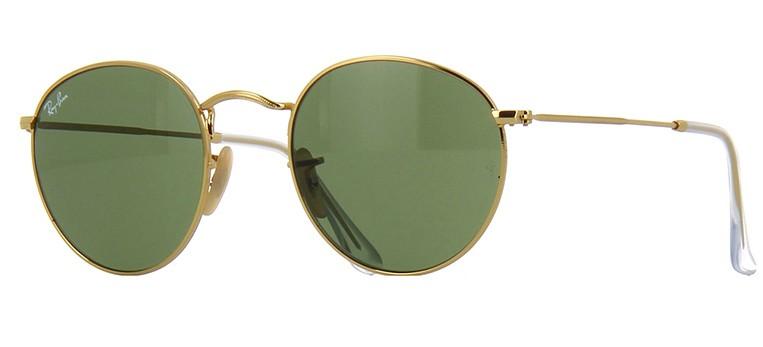 Ray Ban Round Metal Dourado Lente Verde G15